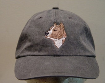 Staffordshire Terrier Dog Hat - One Embroidered Men Women Cap - Price Embroidery Apparel - 24 Color Caps Available