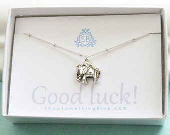 Good Luck Gift • Elephant Necklace • Encouragement Gift • Elephant Charm • Indian Elephant Charm • Lucky Elephant Jewelry • Elephant Pendant