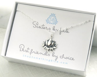 Lotus Flower Necklace • Sisters Are Best Friends Gift • Yoga Necklace • Zen Jewelry • Sibling Jewelry • Lotus Charm