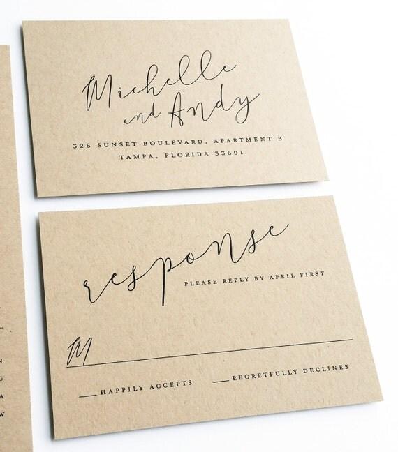 Michelle Calligraphy Script Recycled Kraft Wedding Invitation Sample