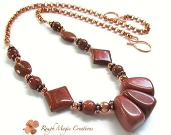 Russet Brown Goldstone Gemstone Necklace. Abstract Geometric Jewelry. Sparkly Stones. Adjustable Choker to Long Boho Necklace. Copper Chain
