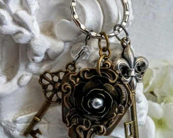 Royal Legacy Keys  Necklace - Boho Steampunk Upcycled Key Fleur de Lis Long Sweater Travel Necklace