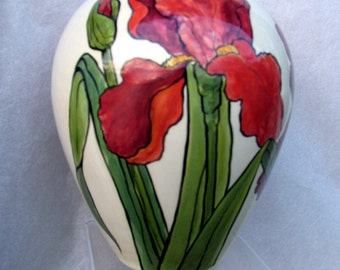 Oval Ceramic Flower Vase Handpainted  Burgundy and Red Irises on Etsy