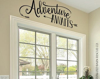 Adventure Awaits - Wall Decal, Vinyl Quote with Arrow - Adventure Quote - Tribal Theme Room Decor
