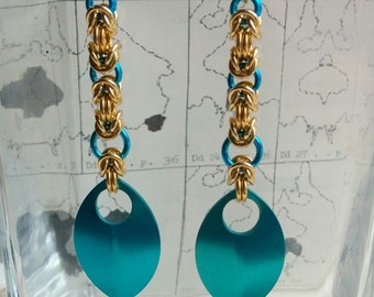 Turquoise and gold byzantine chainmaille earrings