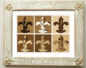 "Fleur de Lis Distressed Framed Matted Art ""Fleur Neutral""  Signed and Numbered"