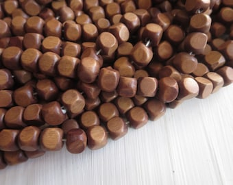 cube wood beads , painted  brown , finished wood ,   faceted wooden beads,. exotic natural material Indonesian  , 7-8mm ,  50 beads  5A19-3