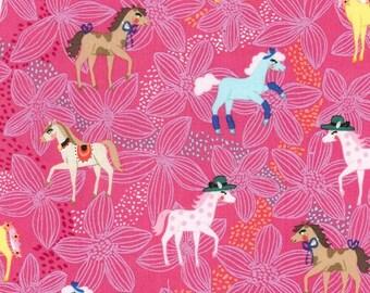 Horses Pretty Ponies Pink Michael Miller Fabric 1 yard