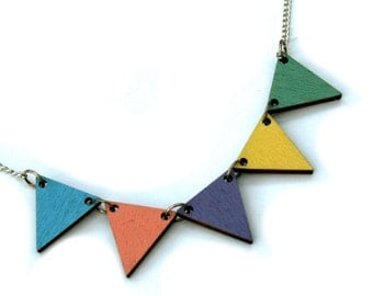 Bunting Necklace, Painted Wood Triangles, Geometric Triangle Necklace, Wood Jewelry