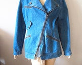 MOTO JACKET // Vintage 90s Denim Biker Jacket Asymmetrical Long Coat Punk Zipper 1990s Jean Jacket DKNY Womens Small