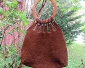 1970s Vintage Brown Suede Handbag with Wooden Handle Silver Hardware Wood Circle with Pocket Leather Boho Tote