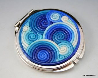 Compact Mirror in Blue and Teal Polymer Clay Filigree