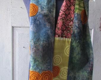 Artisan SCARF patchwork of recycled and vintage cotton fabrics with hand stitching extra long unique one of a kind