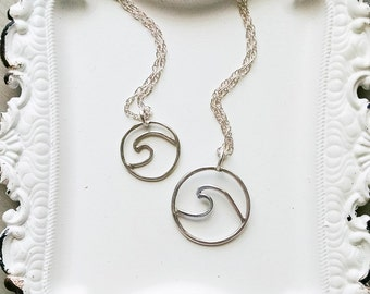 Silver Wave Necklace, Mini Wave, Wave Pendant Ocean Inspired, Beach Jewelry, Minimalist, Sterling Silver, Wave Outline