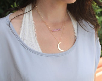 Wish Moon Necklace, Crescent Moon Necklace, Moon Charm Necklace Silver, Rose or Gold Necklace, Layering Necklace The Silver Wren