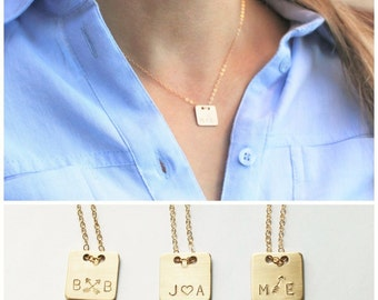 Square Personalized Necklace, Gold Initial Necklace, Two Initial Necklace, Mothers Necklace, Couples, Best Friend Necklace Sister Gift