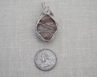Beautiful Sterling silver and Stone Pendant -reversible