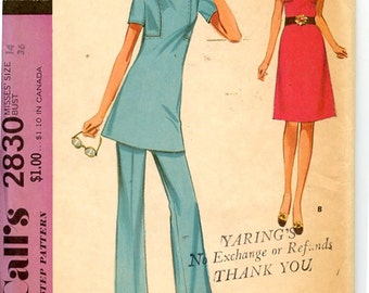 1970s McCall's 2830 Sewing Pattern  Short Sleeve Dress or Tunic with Mandarin Collar and Flared Skirt & Pants Uncut, OFF Sz 14 Bust 36