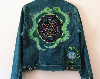 Sacred Snakes Hand Painted & Embroidered Jean Jacket