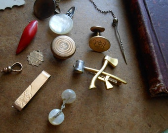 antique victorian edwardian art deco jewelry lot - broken mens jewelry lot  rhinestones filigree brass brooch cufflink