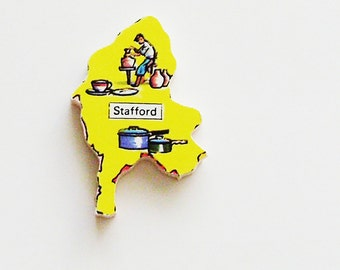 1960s Stafford England Brooch - Pin / Unique Wearable History Gift Idea / Upcycled Vintage Wood Jewelry / Timeless Gift Under 25