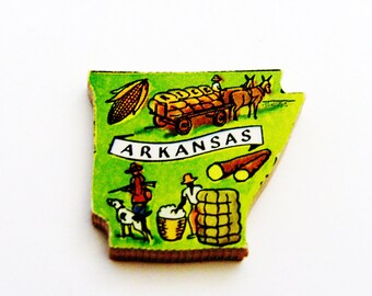 1960s Arkansas Brooch - Pin / Unique Wearable History Gift Idea / Upcycled Vintage Hand Cut Wood Jewelry / Timeless Gift Under 25