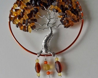 Windchime tree of life wind chime recycled sea glass wire sculpture one of a kind artist made in Michigan