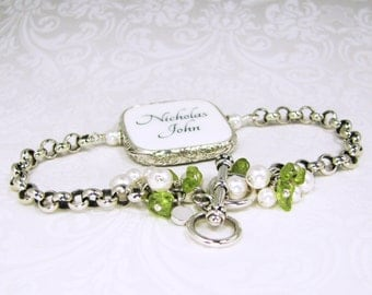 Custom Sterling Framed Photo Charm Bracelet with Peridot - FP2RFB5a