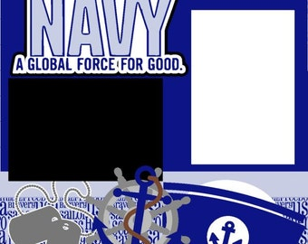 U.S. Navy 2-page 12X12 Premade Scrapbook Pages or Scrapbook page Kit