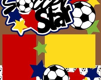 Soccer Star 2-page 12X12 Scrapbook Page Kit or Premade Layout - You Choose Color!!