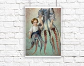 Octopus Siren Mermaid Nautical Large Portrait Blue Pink Print Digital Art Surreal Home Decor Beach House Squid Lovecraft Governess