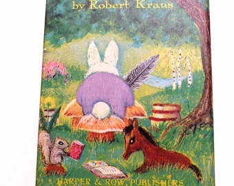 The Bunny's Nutshell Library by Robert Kraus 4 Miniature 1965 First Edition Near Fine Books in Pictorial Slipcase Horse Chicken Robin Rabbit