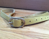 Yellow Leather Belt, Vintage Belt, Thin Leather Belt, Vintage Leather, Light Yellow Belt, Soft Leather Belt, M L 31