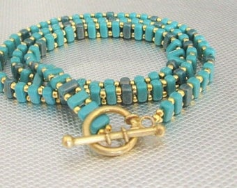 stackable bracelet teal beaded wrap teal
