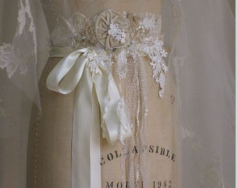 Lace Collage Wedding Gown Sash Wedding Dress sash Ivory Champagne One of a Kind
