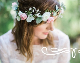 bridal headpiece, bridal flower crown, bridal hair piece, ivory flower crown, mint hair accessories, floral crown wedding, woodland crown