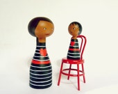 Mother's day Custom mother and daughter peg portrait - OOAK - Personalized girl baby boy pet matching dresses African-American red heart
