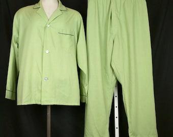 Vintage Towncraft Pajamas Set Green Mens L 42-44