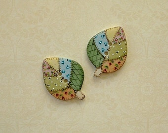 Patchwork Leaf Buttons set of 2