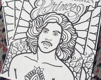 Prince Rogers Nelson memorial coloring page   hand-drawn art illustration celebrity adult coloring   my UPCYCLED workshop   MADE by LB