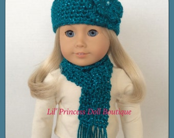 Doll Clothes Made To Fit American Girl, Crochet Hat and Scarf Set, Teal SPARKLE, 18 Inch