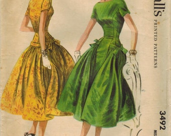1950s McCall's 3492 Vintage Sewing Pattern Misses Evening Dress, Formal Dress, Drop Waist Dress Size 12 Bust 30