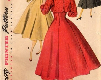 1950s Simplicity 4759 UNCUT Vintage Sewing Pattern Misses Jumper Dress and Cropped Jacket Size 16 Bust 34