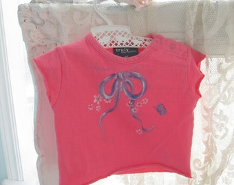 Painted Baby TShirt, Six months, Hot Pink, Painted, Ribbons, Butterfly, Shower Gift, by enfantjoli on etsy