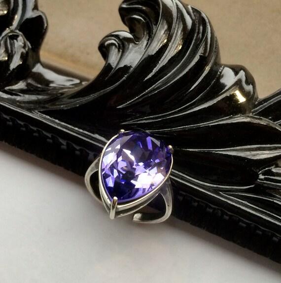 Teardrop Tanzanite: Tanzanite Teardrop Swarovski Crystal Ring // Swarovski Ring