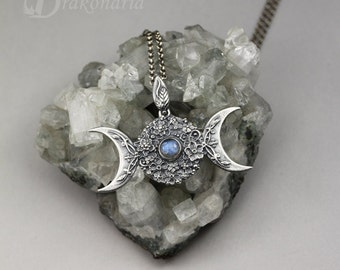 Triple Goddess in flowers with labradorite - sculpted silver pendant, limited collection