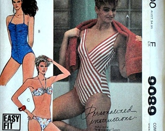 Misses' Swimsuits', Vintage 80's McCall's 9089 Sewing Pattern, Sizes 16-18-20, Bust 38-40-42, Beachwear, Uncut FF