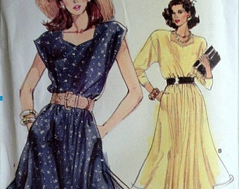 Vintage 80's Very Easy Vogue 7147 Sewing Pattern, Misses' Dress, Size 8-10-12, Uncut FF