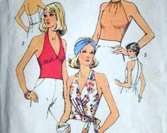Vintage 1970's Simplicity 6358 Sewing Pattern, Misses' Top And Halter Tops, Size 8, 31.5 Bust, Uncut FF, Retro 1970's Fashion