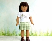 St Patricks Day Shamrock Shirt and Pleated Skirt, American Girl Doll Clothes Pinch Proof Shirt and Plaid Skirt